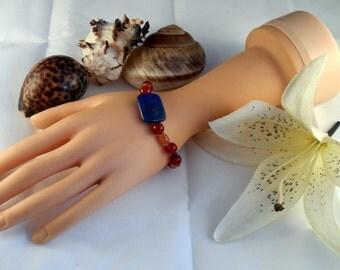 Agate, Carnelian and Lapis Lazuli Bracelet (GB 0002)