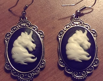 Handmade White Black Unicorn Cameo Dangle Earrings