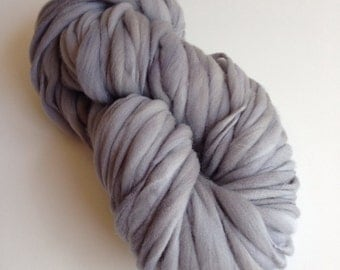 Handspun Thick and Thin Merino Yarn - 50 yds Storm