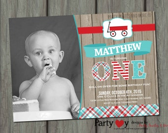 Red Wagon Birthday Invitation, Roll on Over Birthday Invitation, First Birthday Invitation, Red and Turquoise Birthday Invitation, Rustic