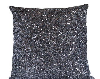 Designer Throw Pillow Cover, Grey Silk Luxury Confetti Decorative Pillows,  Gray Sequin Beads Cushion