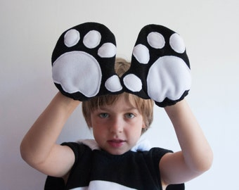 Panda Bear Gloves, Children's or Adult's Photo Prop, Pretend Play, Black and White