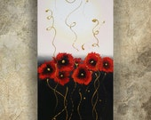 Abstract poppies painting black white red modern art contemporary decor acrylic on canvas art to buy red poppy abstraction for sale Ksavera
