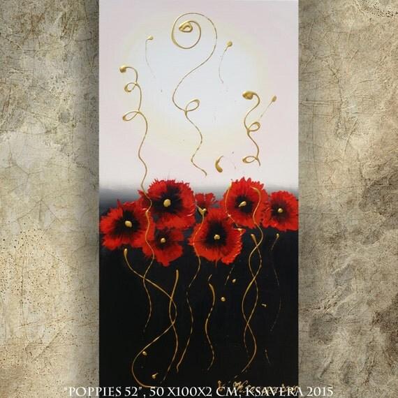 Mohnblumen acrylbilder mohn malerei blumen gem lde schwarz - Wohnzimmer schwarz weis rot ...