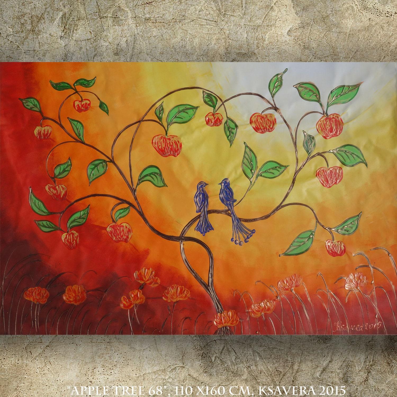 Etsy Art Apple Tree Acrylic Painting Xxl Painting Tree Of Life Sunset