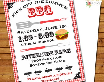 BBQ party picnic Invitation - Printable Customized