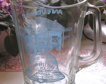 Vintage Volunteer Fire Co. 50th Anniversary Glass Beer Pitcher 1975 Campbelltown PA Founded 1925