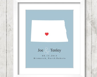 8x10 North Dakota Wedding Map - Bismarck, North Dakota - Love Map - State Map - Wedding, Engagement & Anniversary - Newlyweds