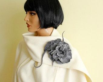 Felt brooch, grey  brooch, fancy flower, unique flower, felted brooch, wool merino