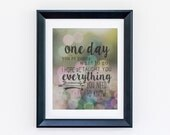 "READY to SHIP 8 x 10! Gracie, Ben Folds ""One day you're gonna want to go."" Song lyrics Art Print Awesome baby shower, birthday, present"