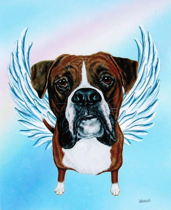 Boxer Boxer Angel Boxer Art Dog Angel Boxers Pet Etsy