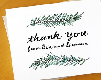 Rosemary Branch Custom Thank You Card / Couples Thank You Card / Rustic Family Thanks