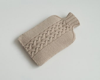 Hand Knit Hot Water Bottle Cosy, Cover, Light Beige - YEADING