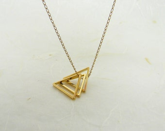 Triangle necklace, Geometric necklace, Layering necklace, Geometric jewelry, Triangle jewelry, Gold triangle necklace
