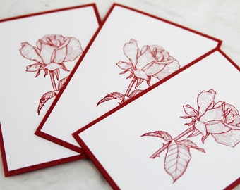 All Occasion Red Rose Note Card Set of Ten, Feminine Stationery Set, Note Cards for Her, Rose Birthday Card, Rose Thank You Cards