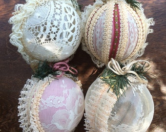 Set of 4 Lovely lace covered Christmas ball ornaments
