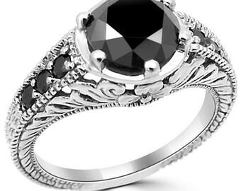 2 Carat Round Fancy Black Diamond Engagement Ring 14k White Yellow Rose  Pink Gold Vintage Antique Style