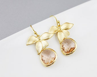 Gold Orchid Flower Leaf and Champagne Glass Stone Pendant Earrings. Bridal Earrings, Bridesmaid Earrings, Bridesmaid Gift ,Wedding Jewelry