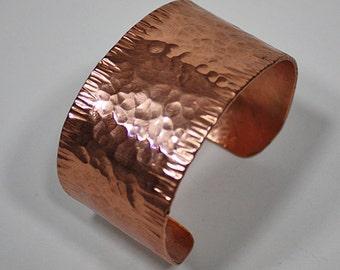 Hammered Copper Cuff Bracelet, Copper Bracelet, Wide Cuff Bracelet, Rose Gold Copper Cuff, Copper Bangle, Copper Jewelry, Copper Anniversary