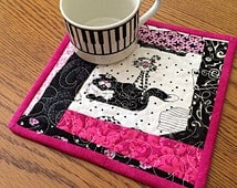 Mug Rug, Mug Mat, Coaster, Snack Mat, Candle Mat, Reversible Mug Rugs, Cats, Scotty Dogs, Mini Wall Art, Quilted Wall Haging