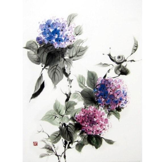 Hydrangea Ink Brush Painting