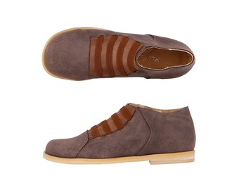 Womens Brown shoes Athletic Leather casual shoes ,handmade shoes free shipping  , ADIKILAV