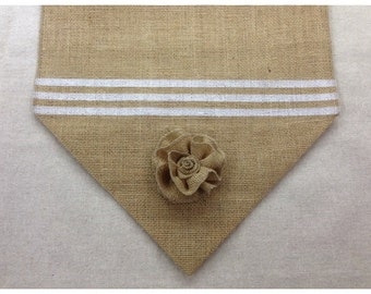 "Burlap Table Runner  12"", 14"" or 15"" wide - Stripe with burlap flower - Wedding runner Home decor Holiday decorating"