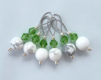 Sock Stitch Markers - No Snag Set of 6 White Turquoise