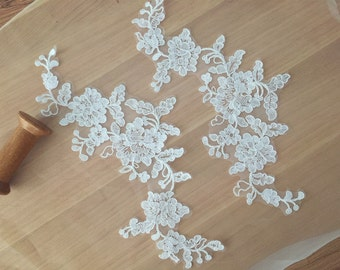 alencon lace applique pair for bridals, headbands, hairflowers