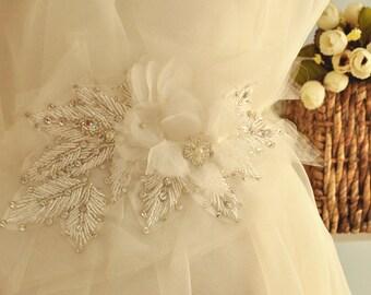 Bridal rhinestone applique with organza chiffon flowers