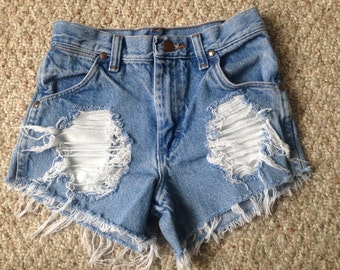 High Waisted Distressed Denim Shorts - size 11 kids