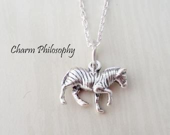 Zebra Necklace - Small Zebra Charm Pendant - 925 Sterling Silver Jewelry - Everyday Necklace