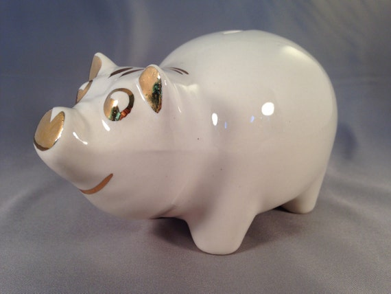 Items Similar To Piggy Bank Off White With Gold Trim Stopper In Good Condition Pig 5 3 4