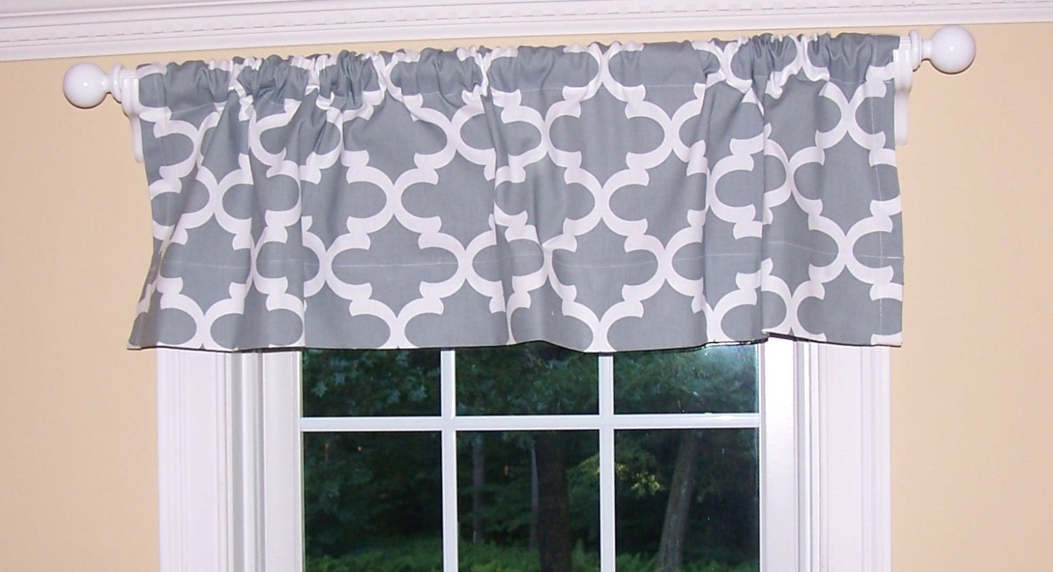 Gray Valances With White Trim : Grey window valancegrey curtains valance by