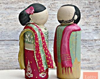 Indian, Pakistani, Asian Bride & Groom Wedding Peg Dolls