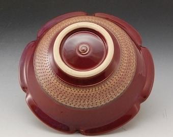 Handmade Pottery Bowl Plum Red Porcelain by Mark Hudak