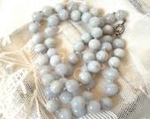 Vintage Blue Lace Agate Lavender Agate Bead Art Deco Necklace Sterling Silver Clasp