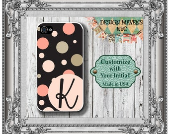 Polka Dot Monogram iPhone Case, Personalized iPhone, Preppy iPhone Case, iPhone 4, 4s, iPhone 5, 5s, iPhone 5c, iPhone 6, Phone Cover