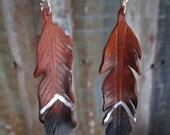 The Little Plata Coachella Feather Earrings, Leather Feather Earrings, Leather Earrings, Gypsy Style Earrings, Boho Style Earrings