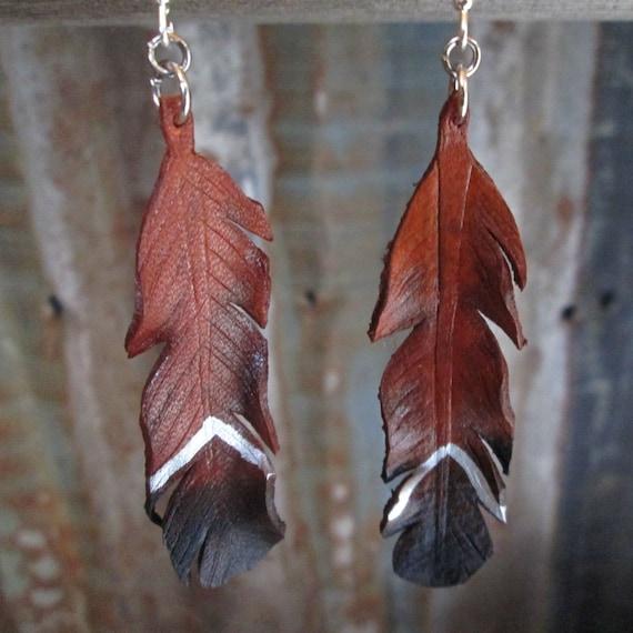 Leather Earrings, Feather Earrings, Leather Feather Earrings, Leather Earring, Earrings