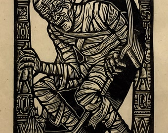 The Mummy Block Print