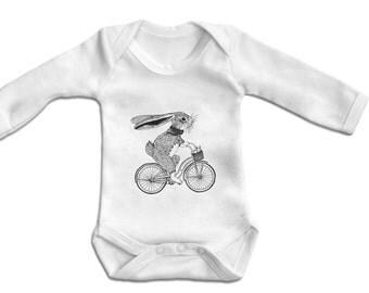 Bunny on Bike -Baby Bodysuit Long sleeve- Vest,Baby One Piece,Baby Clothes,Bodysuit, baby onesie,100% Cotton - Screen Printed