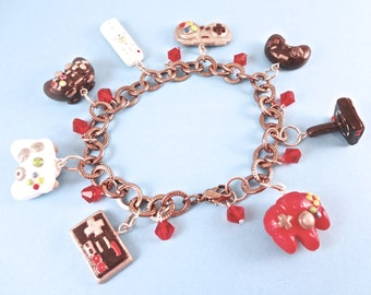 Video Game Controllers Polymer Clay Charm Bracelet