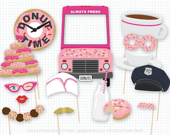 Doughnut Shoppe Party, Doughnut Photo Booth Props, Doughnut Photobooth Props, Birthday, Sprinkles, Foto Booth, Pink, Diner, Sweet Shoppe