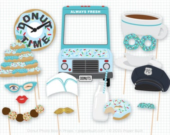 Donut Shoppe Party, Donut Photo Booth Props, Donut Party, Donut Photobooth Props, Birthday, Sprinkles, Foto Booth, Blue, Diner, Sweet Shoppe