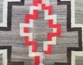 Navajo Rug Transitional Weaving 39 x 58 antique Wool textile 1890s 1900s Native American hand woven Southwestern decor Wall hanging As-Is