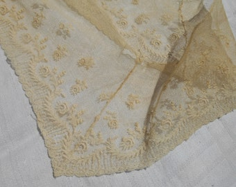 Victorian Collar Applique Floral Tulle Embroidered Supply French Off White Cotton Sewing Project