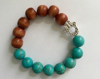 Beaded Turquoise Hamsa Bracelet