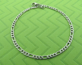 stainless steel flat chain anklet. avail in 5.5-10.5 inches