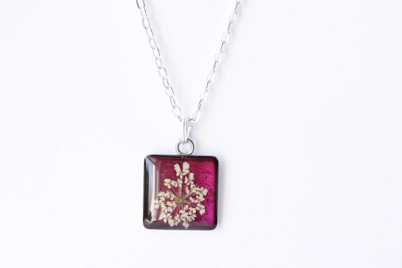 Pressed Flower Jewelry Necklace Pendant Botanical Graduation Gift